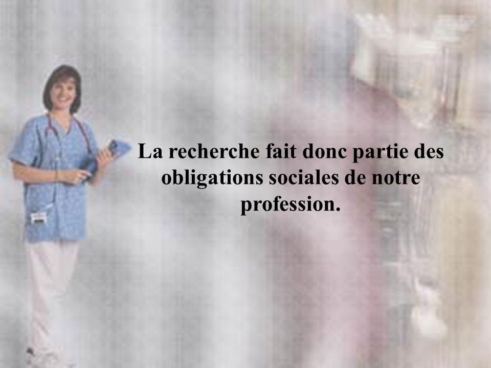 La recherche fait donc partie des obligations sociales de notre profession.