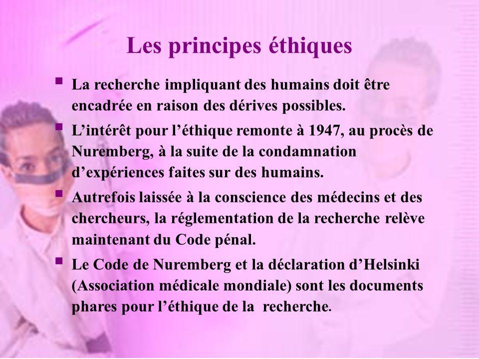 Les principes éthiques La recherche impliquant des humains doit être encadrée en raison des dérives possibles. Lintérêt pour léthique remonte à 1947,