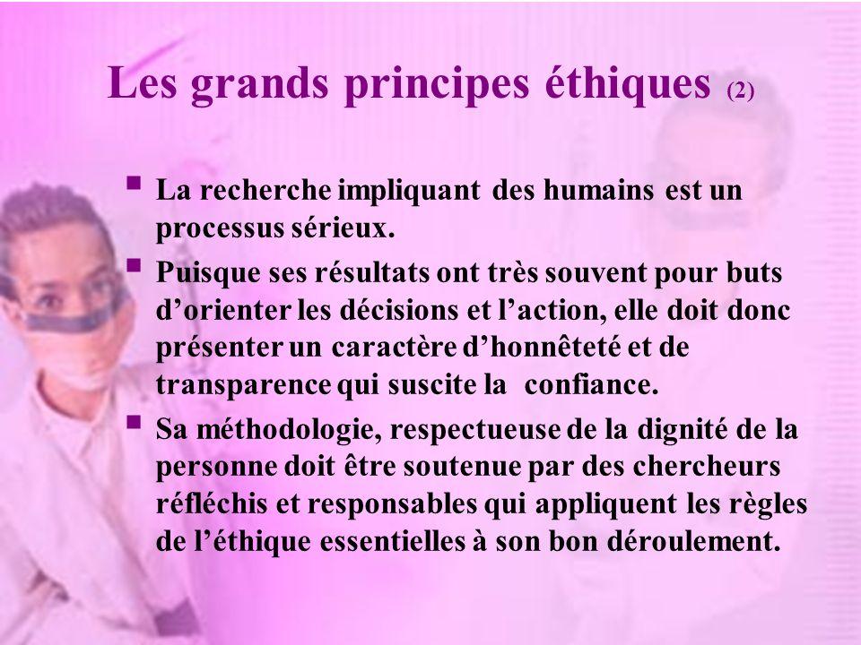 Les grands principes éthiques (2) La recherche impliquant des humains est un processus sérieux. Puisque ses résultats ont très souvent pour buts dorie