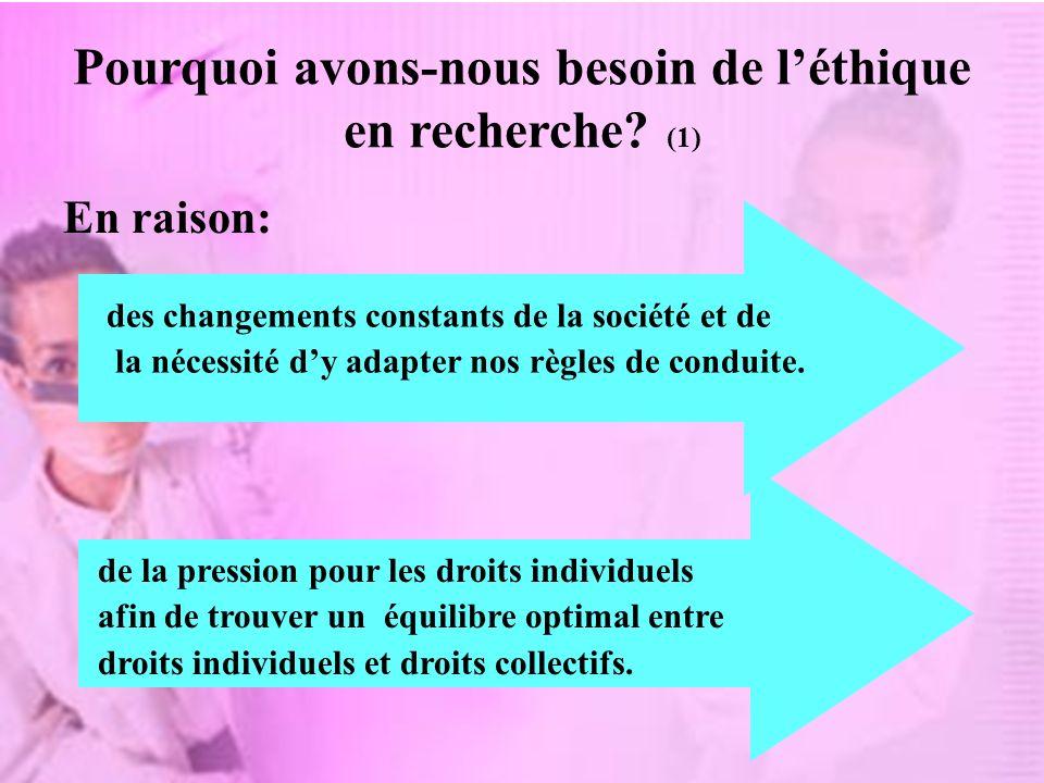 Pourquoi avons-nous besoin de léthique en recherche? (1) En raison: de la pression pour les droits individuels afin de trouver un équilibre optimal en