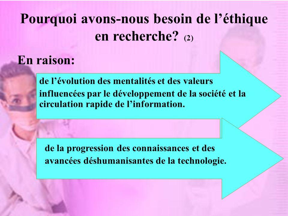 Pourquoi avons-nous besoin de léthique en recherche? (2) En raison: de lévolution des mentalités et des valeurs influencées par le développement de la