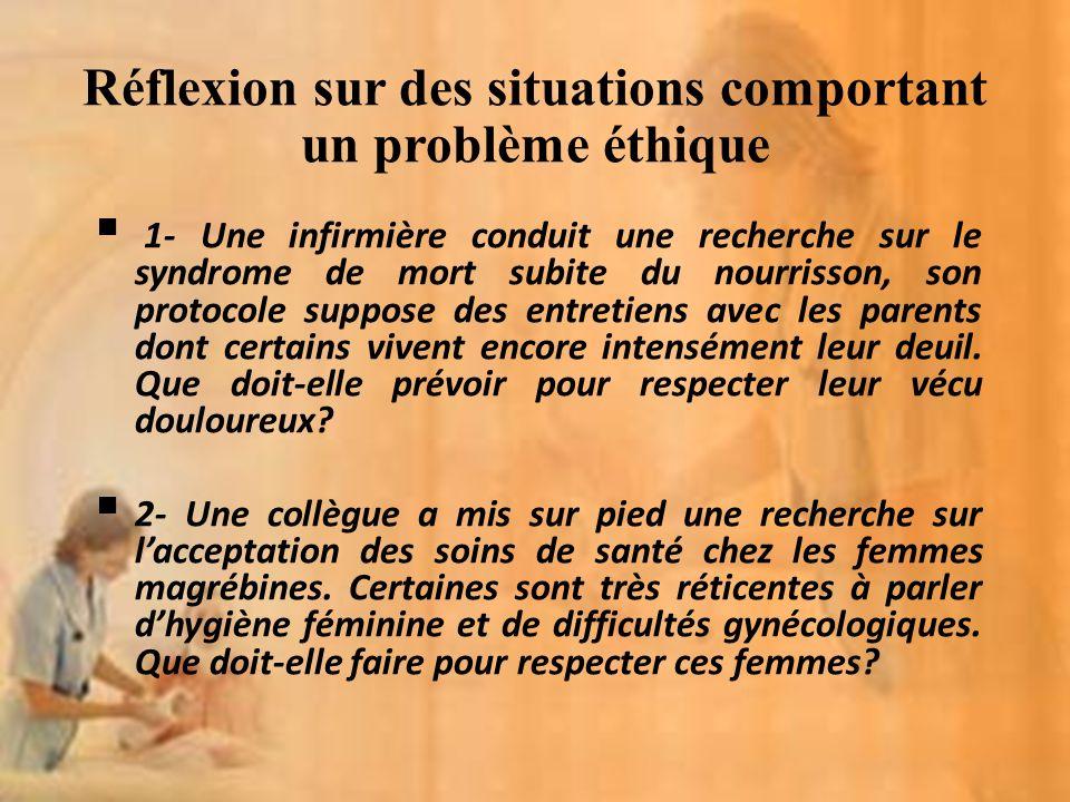 Réflexion sur des situations comportant un problème éthique 1- Une infirmière conduit une recherche sur le syndrome de mort subite du nourrisson, son