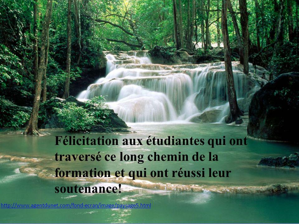http://www.agentdunet.com/fond-ecran/image/paysage5.html Félicitation aux étudiantes qui ont traversé ce long chemin de la formation et qui ont réussi leur soutenance!