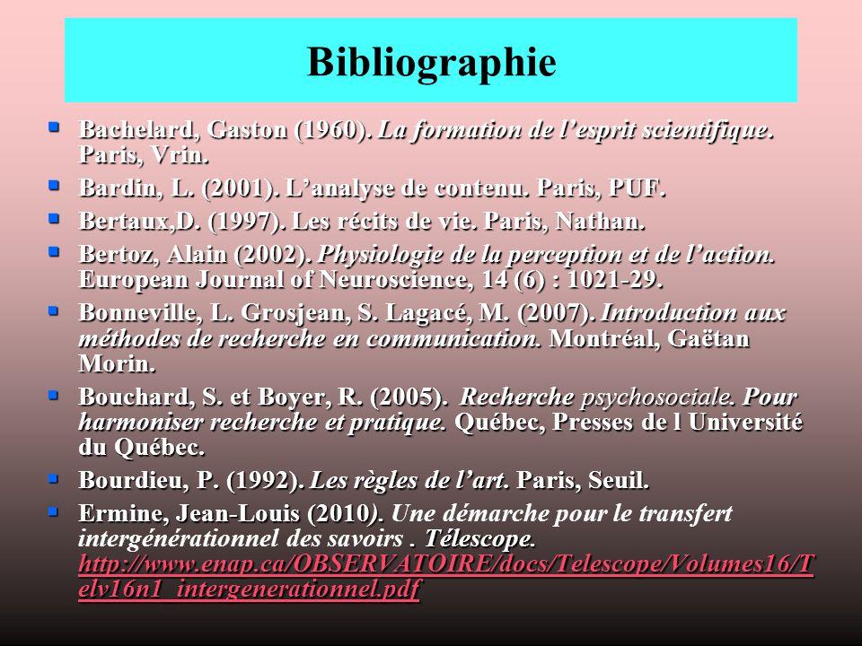 Bibliographie Bachelard, Gaston (1960).La formation de lesprit scientifique.