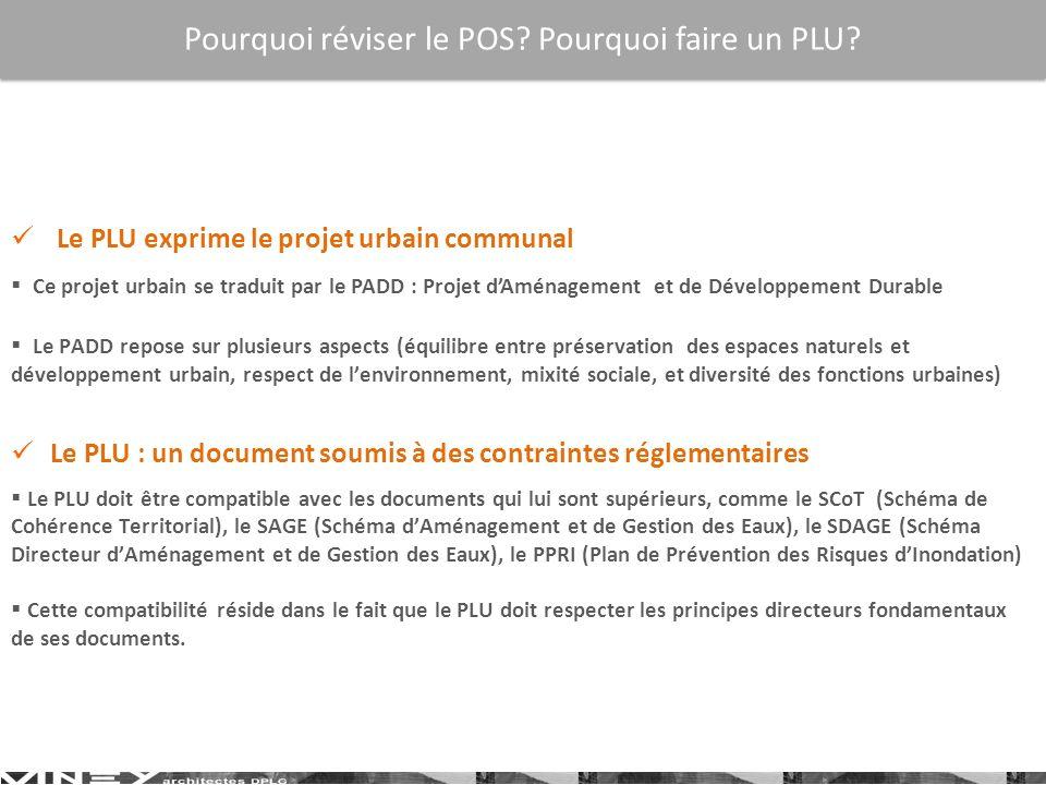 Le PLU exprime le projet urbain communal Ce projet urbain se traduit par le PADD : Projet dAménagement et de Développement Durable Le PADD repose sur