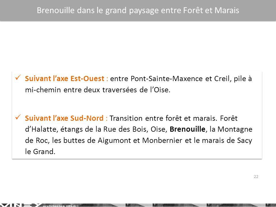 22 Suivant laxe Est-Ouest : entre Pont-Sainte-Maxence et Creil, pile à mi-chemin entre deux traversées de lOise. Suivant laxe Sud-Nord : Transition en