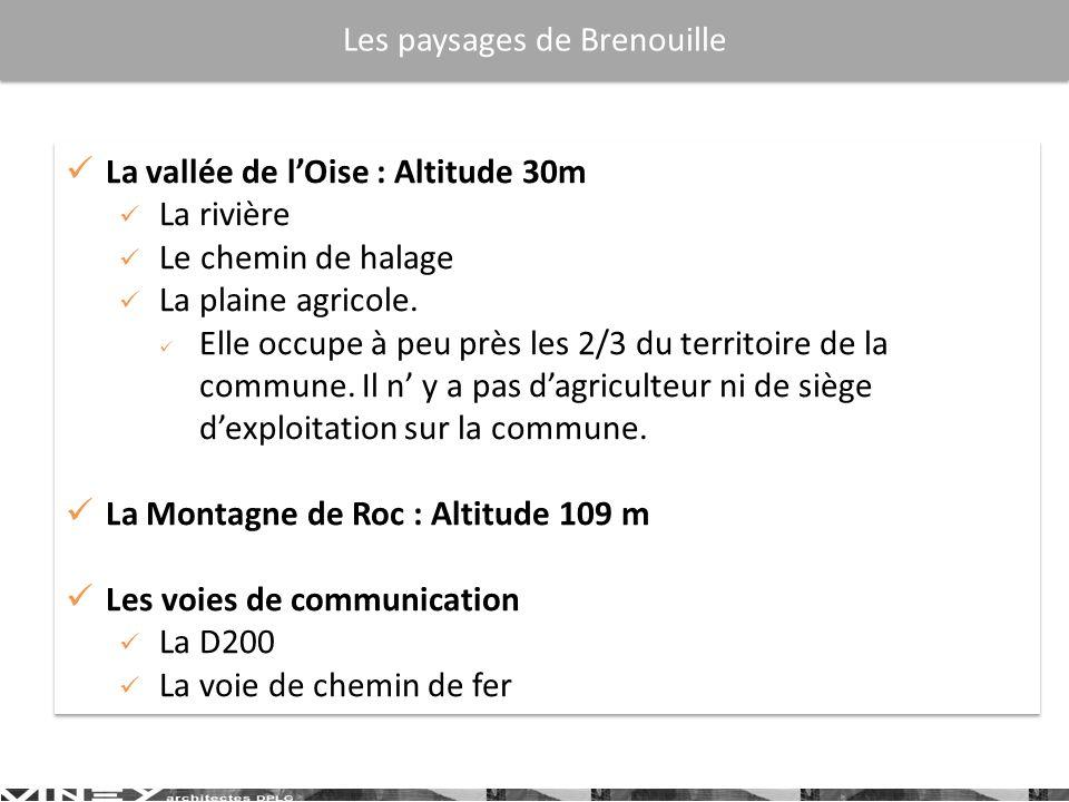 La vallée de lOise : Altitude 30m La rivière Le chemin de halage La plaine agricole. Elle occupe à peu près les 2/3 du territoire de la commune. Il n