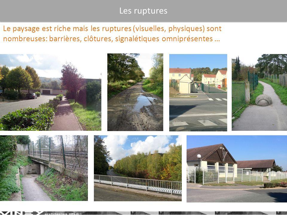 Le paysage est riche mais les ruptures (visuelles, physiques) sont nombreuses: barrières, clôtures, signalétiques omniprésentes … Les ruptures