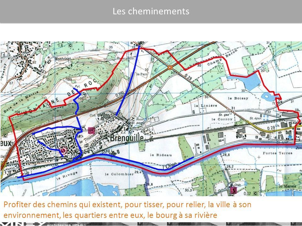 Les cheminements Profiter des chemins qui existent, pour tisser, pour relier, la ville à son environnement, les quartiers entre eux, le bourg à sa rivière