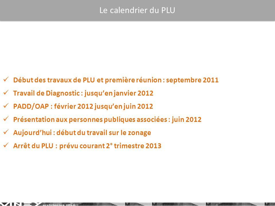 Début des travaux de PLU et première réunion : septembre 2011 Travail de Diagnostic : jusquen janvier 2012 PADD/OAP : février 2012 jusquen juin 2012 P