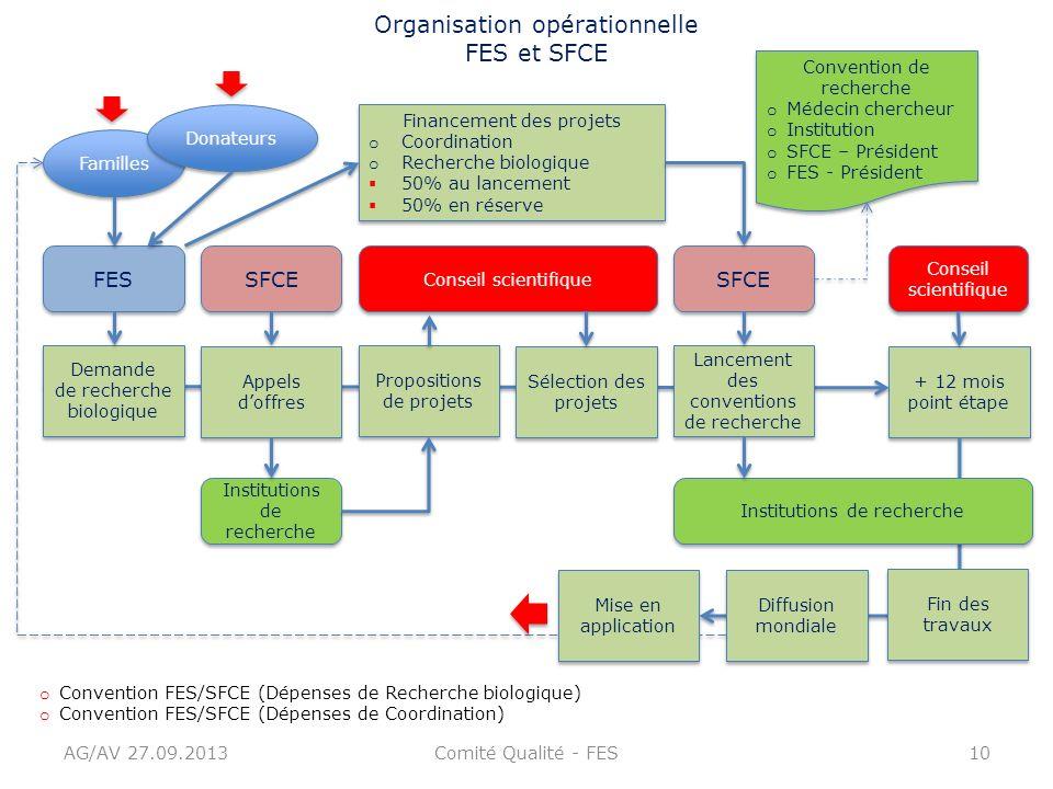AG/AV 27.09.2013Comité Qualité - FES10 Organisation opérationnelle FES et SFCE + 12 mois point étape FES SFCE Institutions de recherche Conseil scient