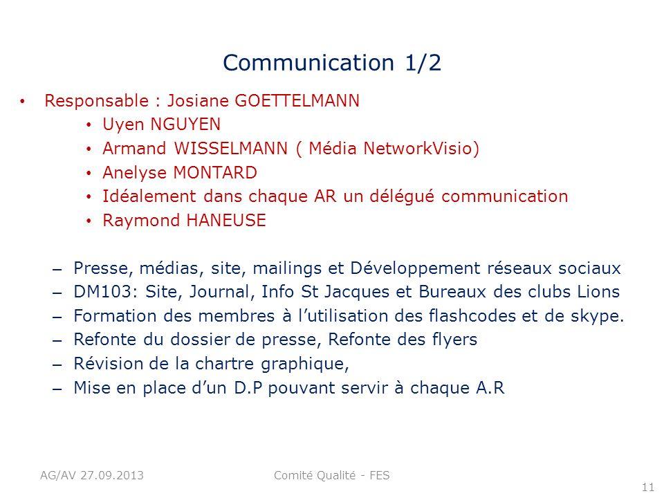 Communication 1/2 Responsable : Josiane GOETTELMANN Uyen NGUYEN Armand WISSELMANN ( Média NetworkVisio) Anelyse MONTARD Idéalement dans chaque AR un d