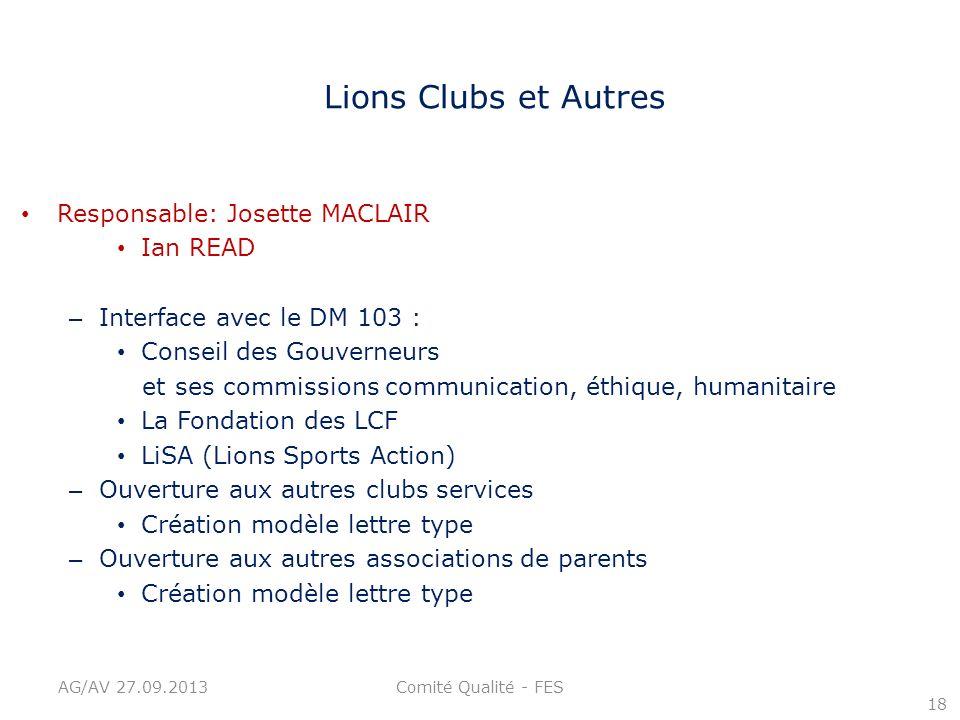 Lions Clubs et Autres Responsable: Josette MACLAIR Ian READ – Interface avec le DM 103 : Conseil des Gouverneurs et ses commissions communication, éth
