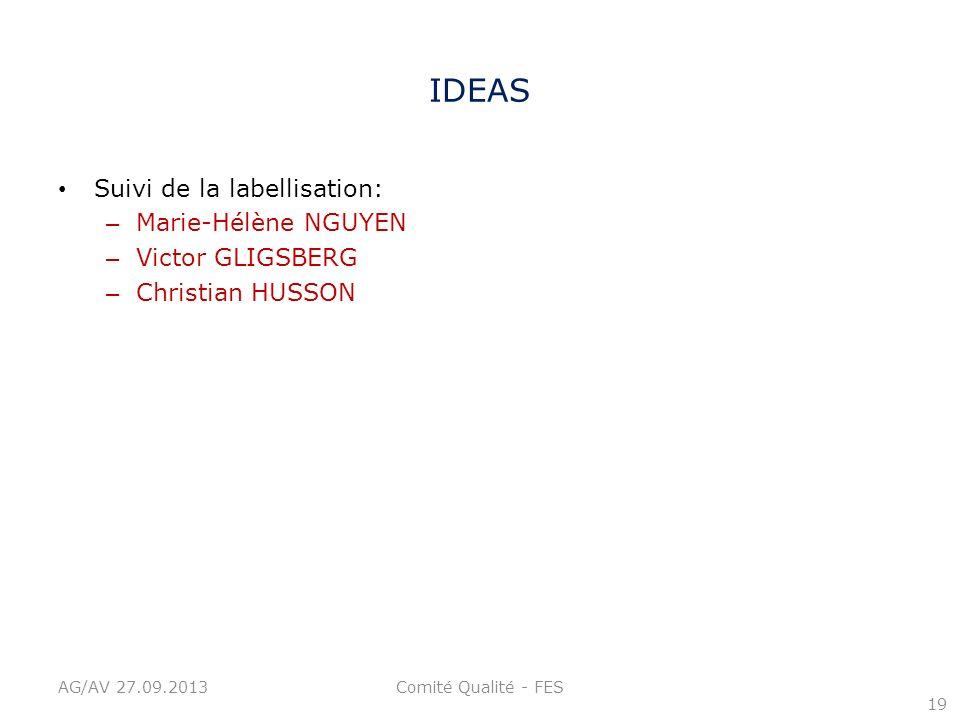 IDEAS Suivi de la labellisation: – Marie-Hélène NGUYEN – Victor GLIGSBERG – Christian HUSSON 19 AG/AV 27.09.2013Comité Qualité - FES
