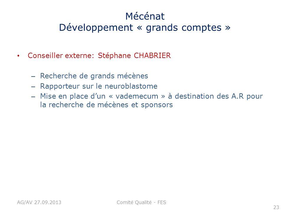 Mécénat Développement « grands comptes » Conseiller externe: Stéphane CHABRIER – Recherche de grands mécènes – Rapporteur sur le neuroblastome – Mise