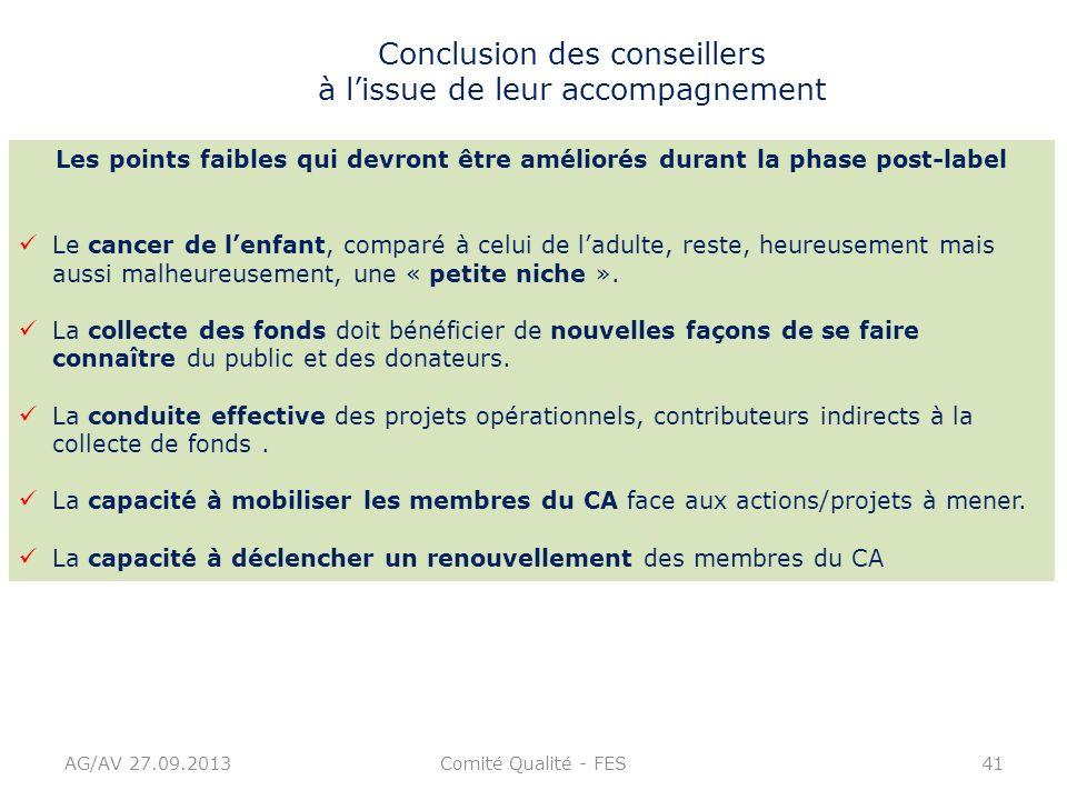 Comité Qualité - FES41 Conclusion des conseillers à lissue de leur accompagnement Les points faibles qui devront être améliorés durant la phase post-l