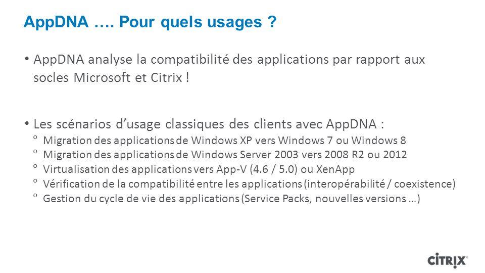AppDNA …. Pour quels usages ? AppDNA analyse la compatibilité des applications par rapport aux socles Microsoft et Citrix ! Les scénarios dusage class