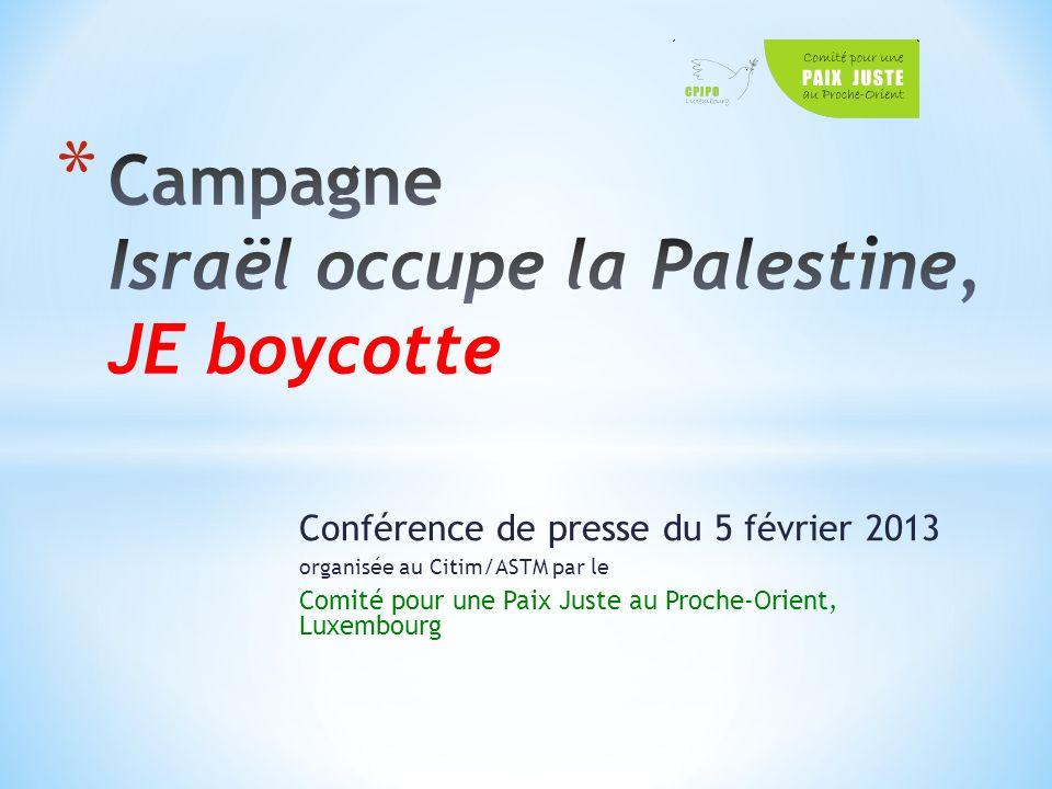 Conférence de presse du 5 février 2013 organisée au Citim/ASTM par le Comité pour une Paix Juste au Proche-Orient, Luxembourg