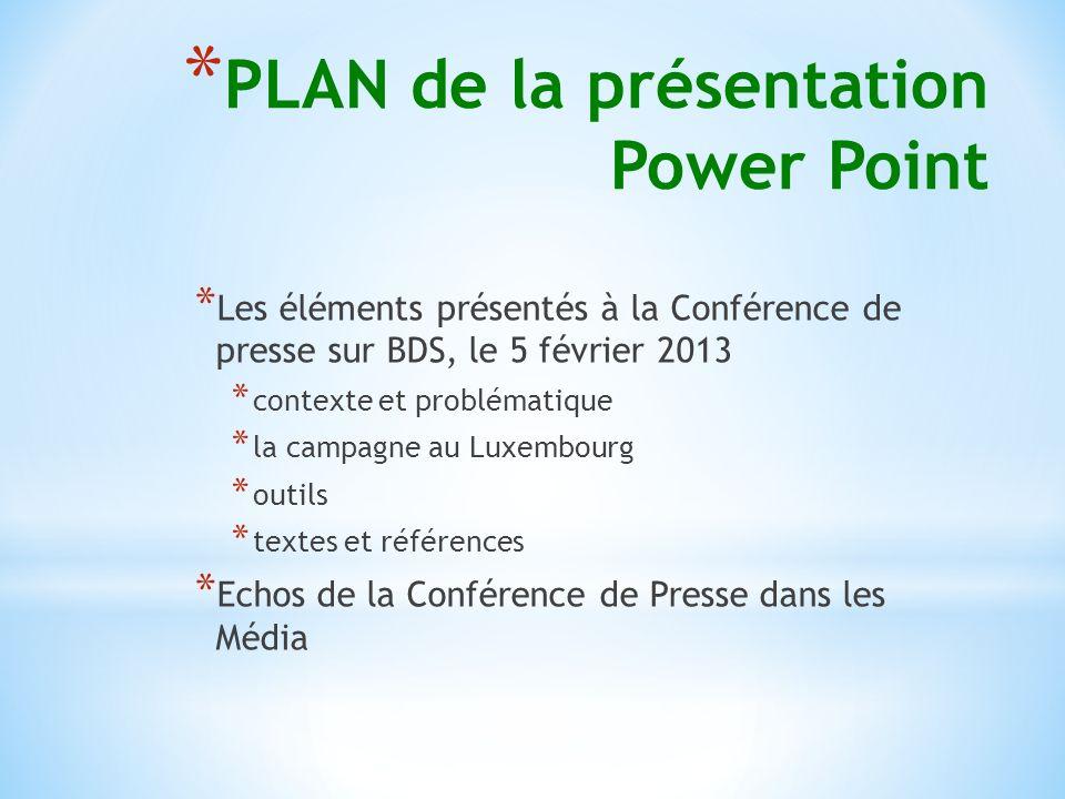 * PLAN de la présentation Power Point * Les éléments présentés à la Conférence de presse sur BDS, le 5 février 2013 * contexte et problématique * la campagne au Luxembourg * outils * textes et références * Echos de la Conférence de Presse dans les Média