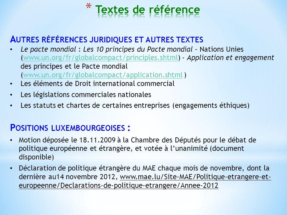 A UTRES RÉFÉRENCES JURIDIQUES ET AUTRES TEXTES Le pacte mondial : Les 10 principes du Pacte mondial - Nations Unies (www.un.org/fr/globalcompact/principles.shtml) - Application et engagement des principes et le Pacte mondial (www.un.org/fr/globalcompact/application.shtml )www.un.org/fr/globalcompact/principles.shtmlwww.un.org/fr/globalcompact/application.shtml Les éléments de Droit international commercial Les législations commerciales nationales Les statuts et chartes de certaines entreprises (engagements éthiques) P OSITIONS LUXEMBOURGEOISES : Motion déposée le 18.11.2009 à la Chambre des Députés pour le débat de politique européenne et étrangère, et votée à lunanimité (document disponible) Déclaration de politique étrangère du MAE chaque mois de novembre, dont la dernière au14 novembre 2012, www.mae.lu/Site-MAE/Politique-etrangere-et- europeenne/Declarations-de-politique-etrangere/Annee-2012