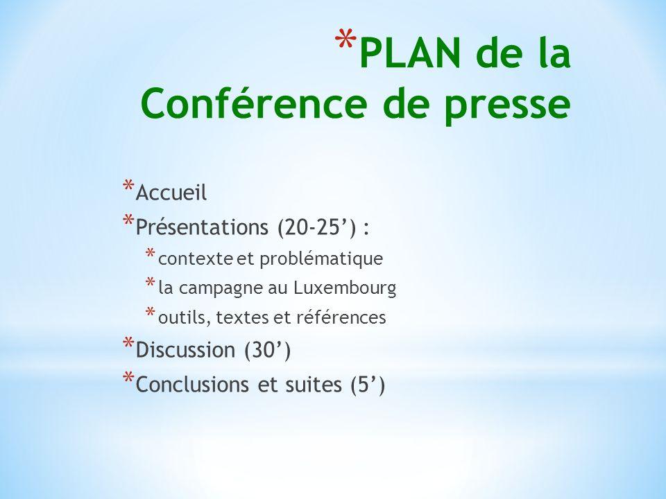 * Accueil * Présentations (20-25) : * contexte et problématique * la campagne au Luxembourg * outils, textes et références * Discussion (30) * Conclusions et suites (5)