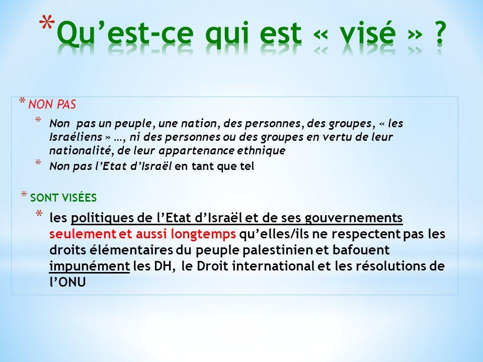* NON PAS * Non pas un peuple, une nation, des personnes, des groupes, « les Israéliens » …, ni des personnes ou des groupes en vertu de leur nationalité, de leur appartenance ethnique * Non pas lEtat dIsraël en tant que tel * SONT VISÉES * les politiques de lEtat dIsraël et de ses gouvernements seulement et aussi longtemps quelles/ils ne respectent pas les droits élémentaires du peuple palestinien et bafouent impunément les DH, le Droit international et les résolutions de lONU