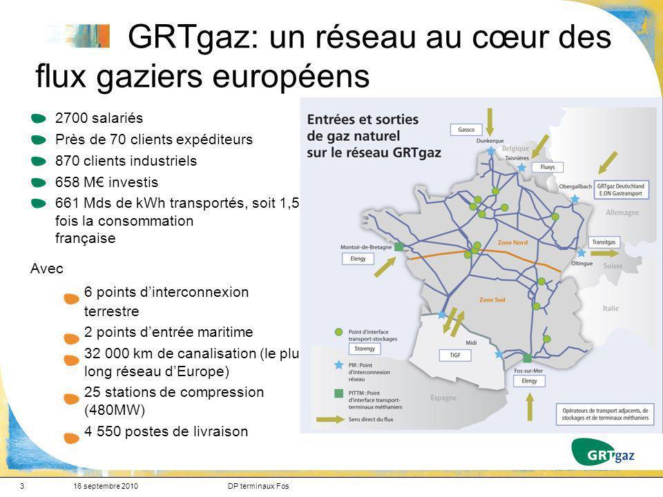 4 Origine de la production et des importations de gaz naturel en Europe 16 septembre 2010DP terminaux Fos