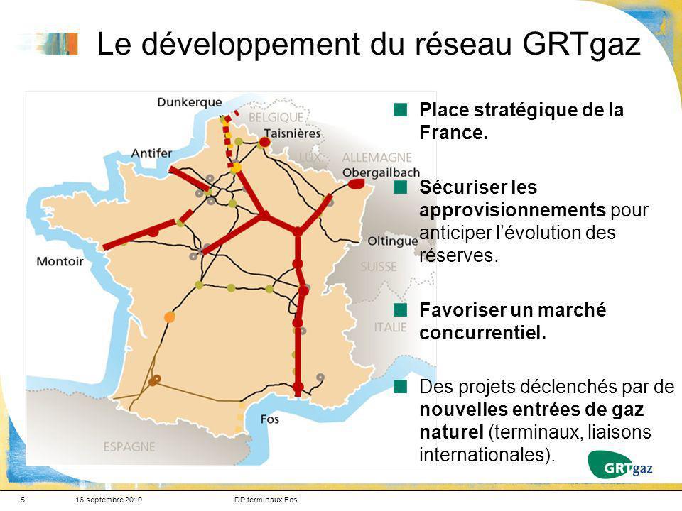 5 Le développement du réseau GRTgaz 16 septembre 2010DP terminaux Fos Place stratégique de la France. Sécuriser les approvisionnements pour anticiper