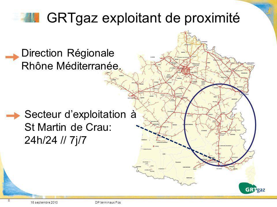 6 Secteur dexploitation à St Martin de Crau: 24h/24 // 7j/7 Direction Régionale Rhône Méditerranée. GRTgaz exploitant de proximité 16 septembre 2010DP