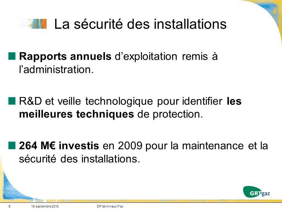9 La sécurité des installations Rapports annuels dexploitation remis à ladministration. R&D et veille technologique pour identifier les meilleures tec