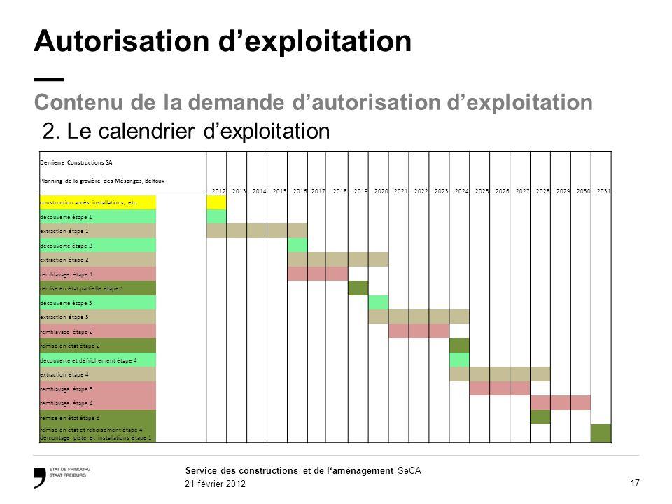 Service des constructions et de laménagement SeCA 21 février 2012 17 Autorisation dexploitation Contenu de la demande dautorisation dexploitation 2.