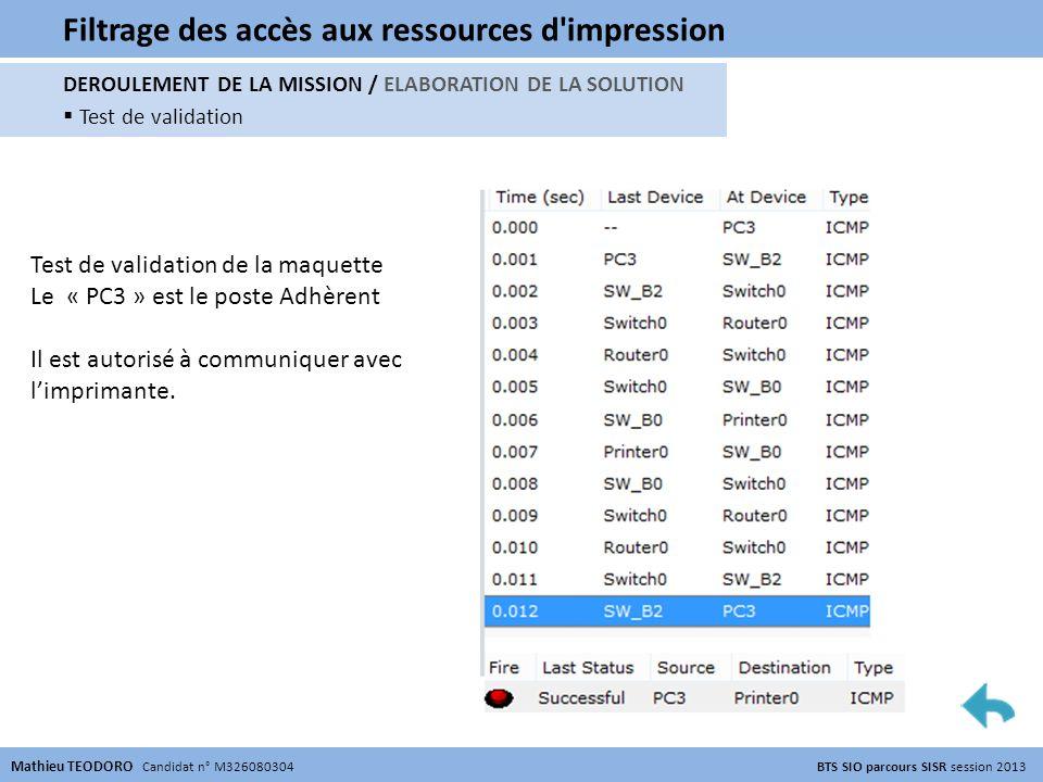 Filtrage des accès aux ressources d'impression Mathieu TEODORO Candidat n° M326080304 BTS SIO parcours SISR session 2013 DEROULEMENT DE LA MISSION / E