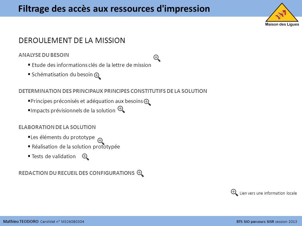 PROJET PROFESSIONNEL ENCADRE N° 3 Filtrage des accès aux ressources d'impression Mathieu TEODORO Candidat n° M326080304 BTS SIO parcours SISR session