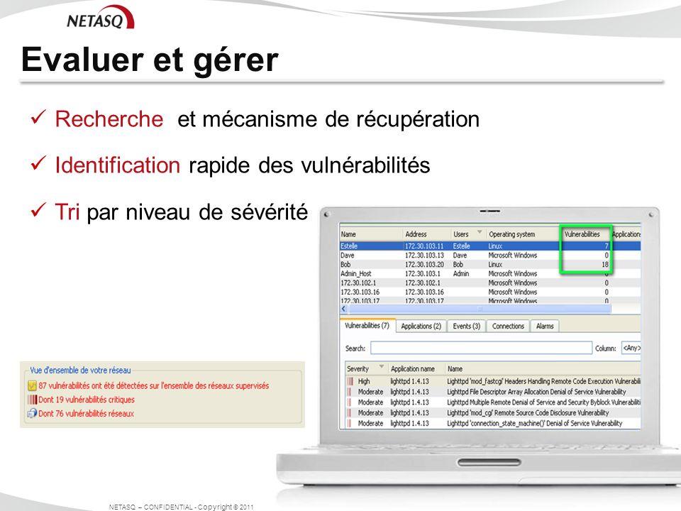 Evaluer et gérer NETASQ – CONFIDENTIAL - C opyright © 2011 Recherche et mécanisme de récupération Identification rapide des vulnérabilités Tri par niv