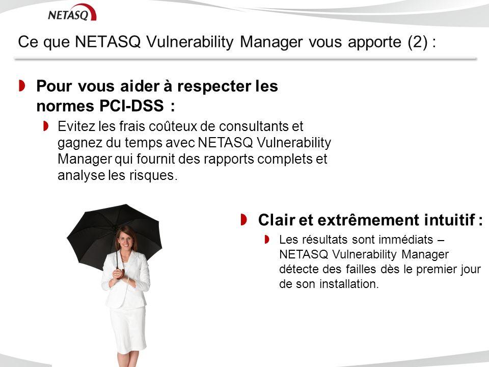 Ce que NETASQ Vulnerability Manager vous apporte (2) : NETASQ – CONFIDENTIAL - C opyright © 2011 Pour vous aider à respecter les normes PCI-DSS : Evit