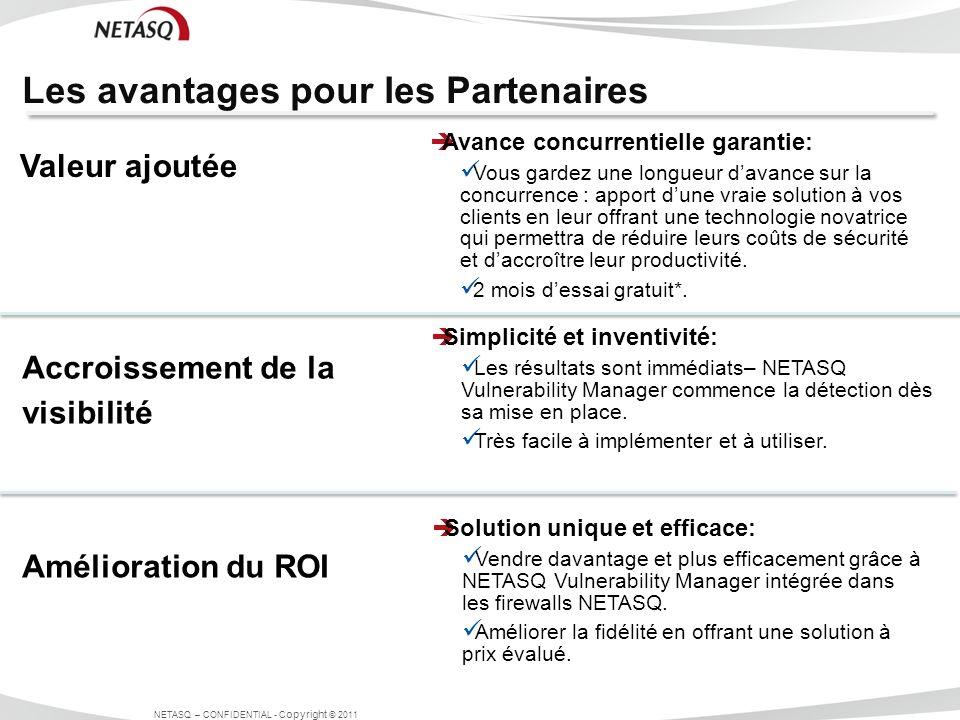 Les avantages pour les Partenaires NETASQ – CONFIDENTIAL - C opyright © 2011 Avance concurrentielle garantie: Vous gardez une longueur davance sur la
