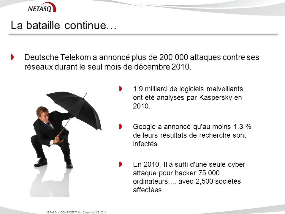 La bataille continue… Deutsche Telekom a annoncé plus de 200 000 attaques contre ses réseaux durant le seul mois de décembre 2010. NETASQ – CONFIDENTI