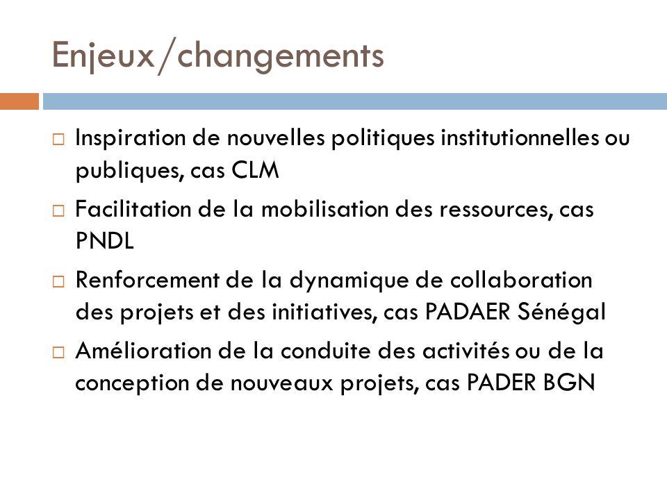 Enjeux/changements Inspiration de nouvelles politiques institutionnelles ou publiques, cas CLM Facilitation de la mobilisation des ressources, cas PND