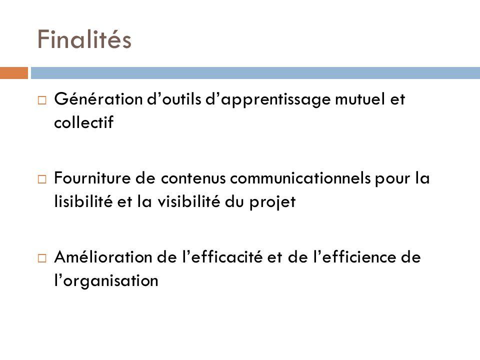 Finalités Génération doutils dapprentissage mutuel et collectif Fourniture de contenus communicationnels pour la lisibilité et la visibilité du projet