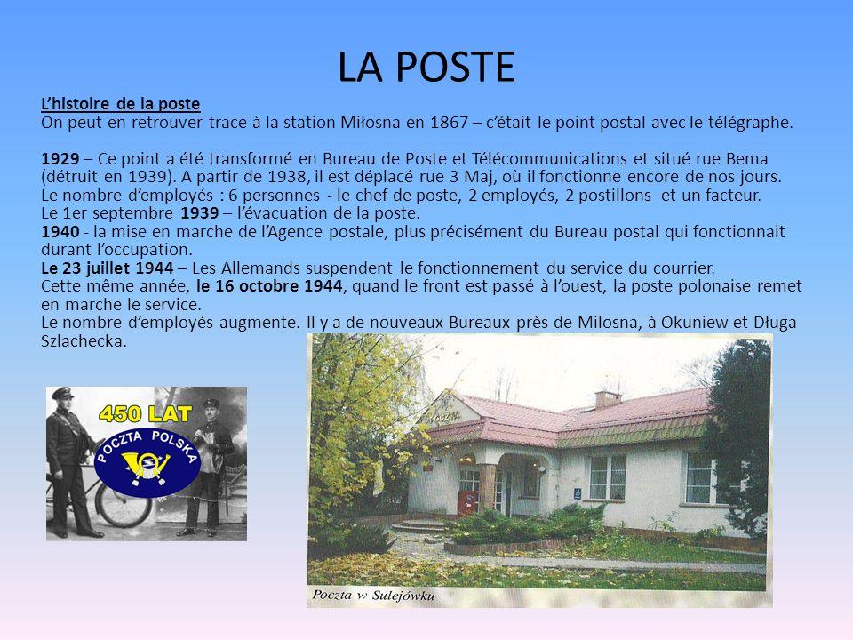LA POSTE Lhistoire de la poste On peut en retrouver trace à la station Miłosna en 1867 – cétait le point postal avec le télégraphe. 1929 – Ce point a