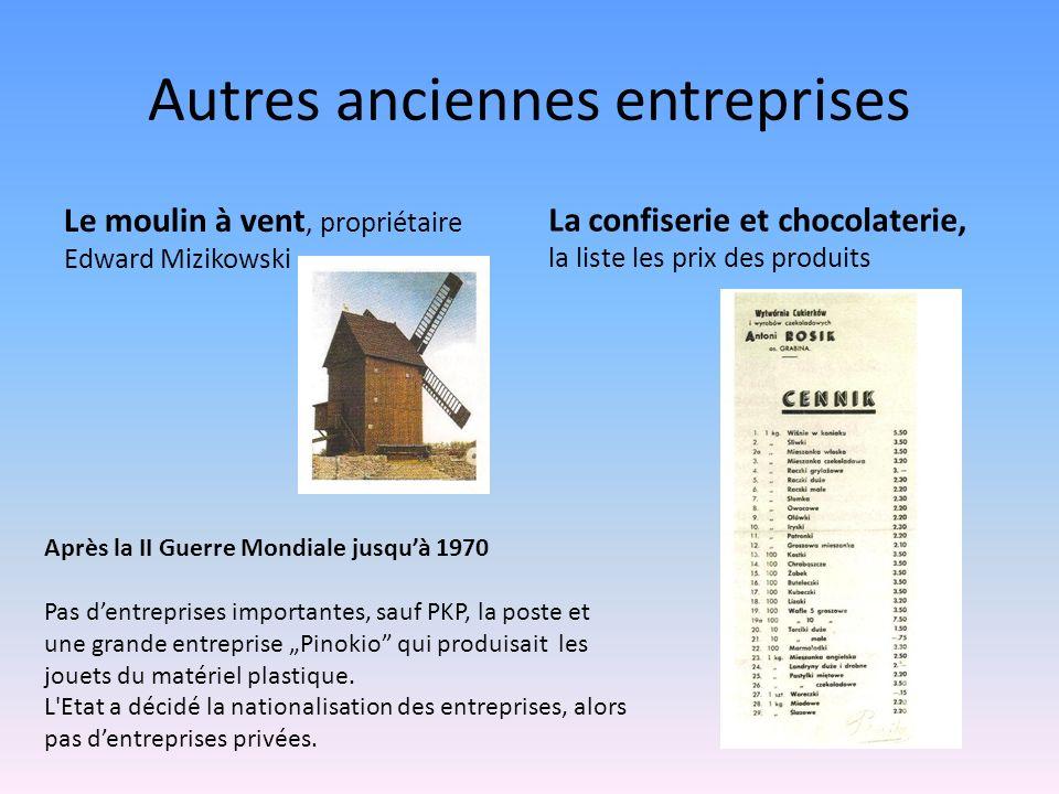 Autres anciennes entreprises Le moulin à vent, propriétaire Edward Mizikowski La confiserie et chocolaterie, la liste les prix des produits Après la I