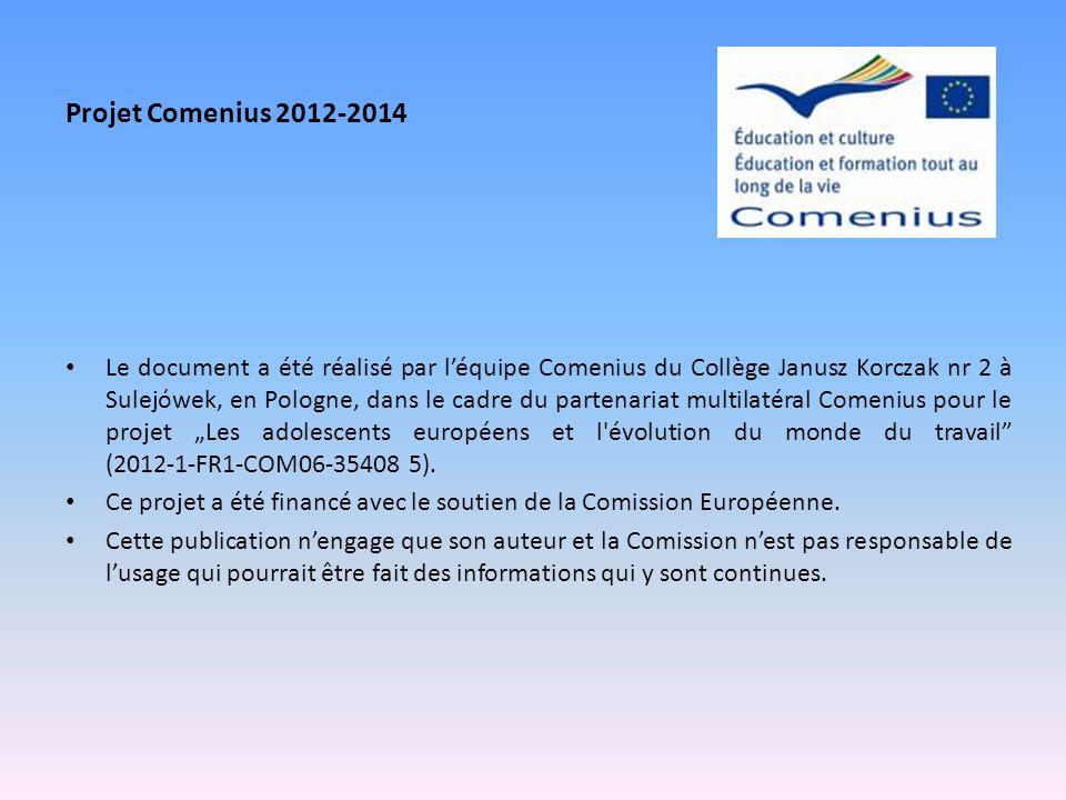Le document a été réalisé par léquipe Comenius du Collège Janusz Korczak nr 2 à Sulejówek, en Pologne, dans le cadre du partenariat multilatéral Comen