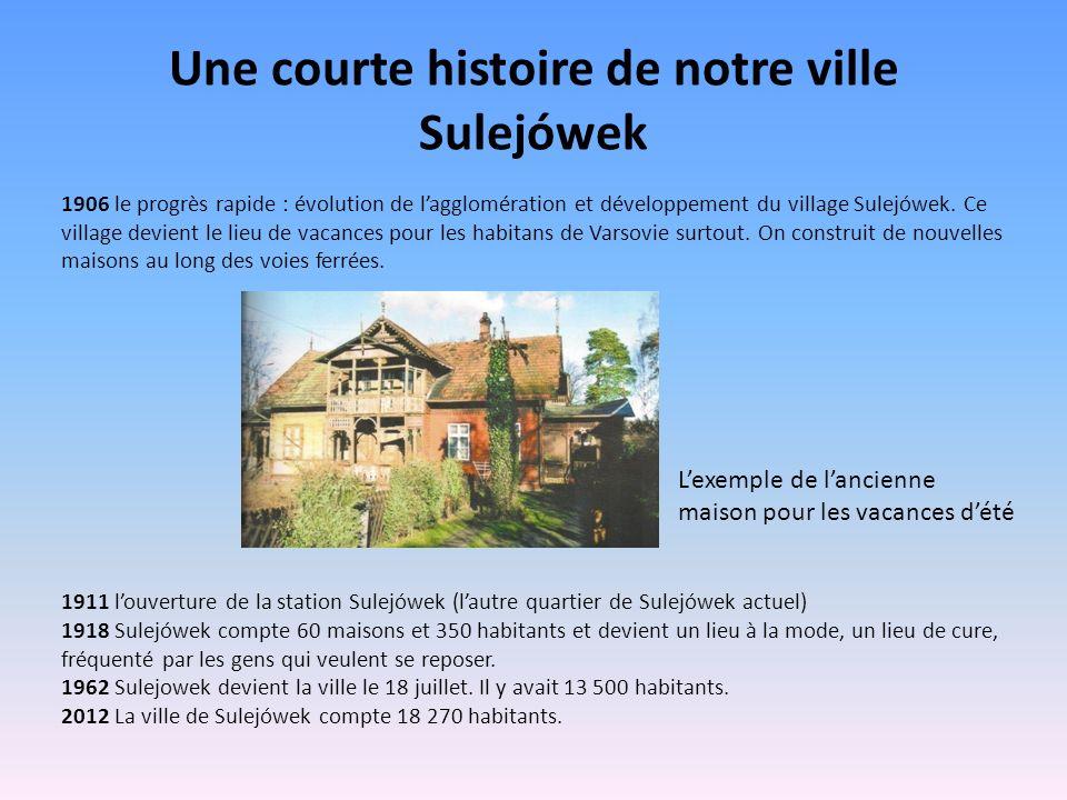 Une courte histoire de notre ville Sulejówek 1906 le progrès rapide : évolution de lagglomération et développement du village Sulejówek. Ce village de