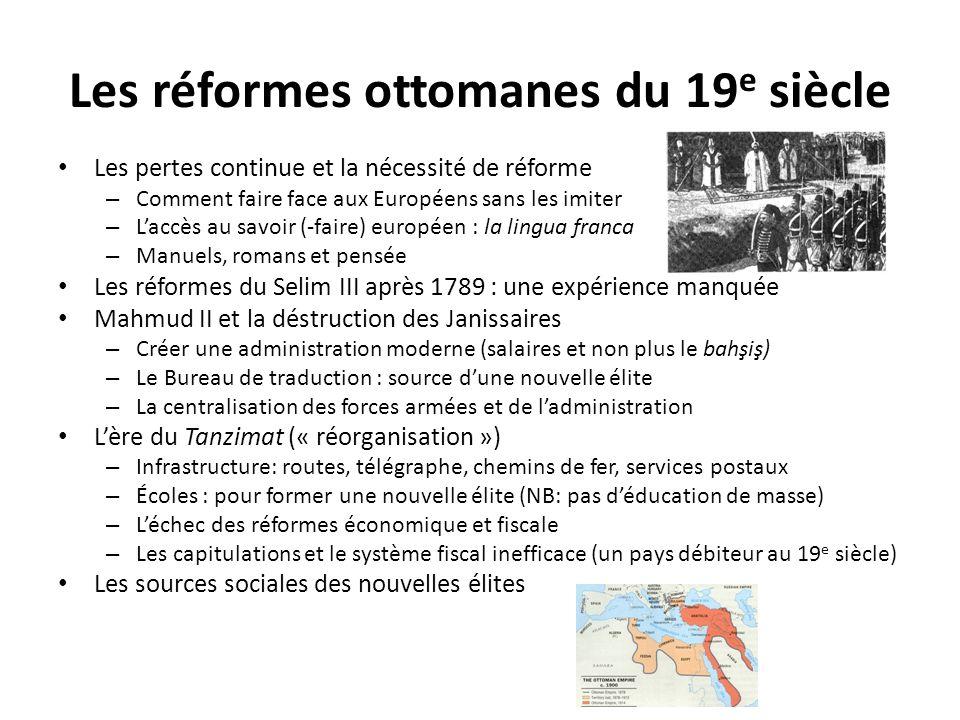 Les réformes ottomanes du 19 e siècle Les pertes continue et la nécessité de réforme – Comment faire face aux Européens sans les imiter – Laccès au sa