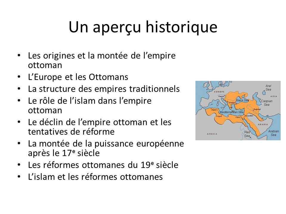 Un aperçu historique Les origines et la montée de lempire ottoman LEurope et les Ottomans La structure des empires traditionnels Le rôle de lislam dan