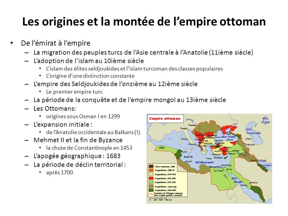 Les origines et la montée de lempire ottoman De lémirat à lempire – La migration des peuples turcs de lAsie centrale à lAnatolie (11ième siècle) – Lad