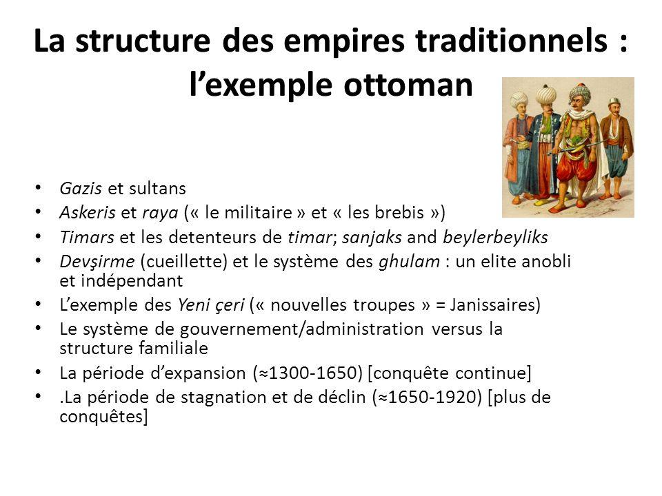 La structure des empires traditionnels : lexemple ottoman Gazis et sultans Askeris et raya (« le militaire » et « les brebis ») Timars et les detenteu