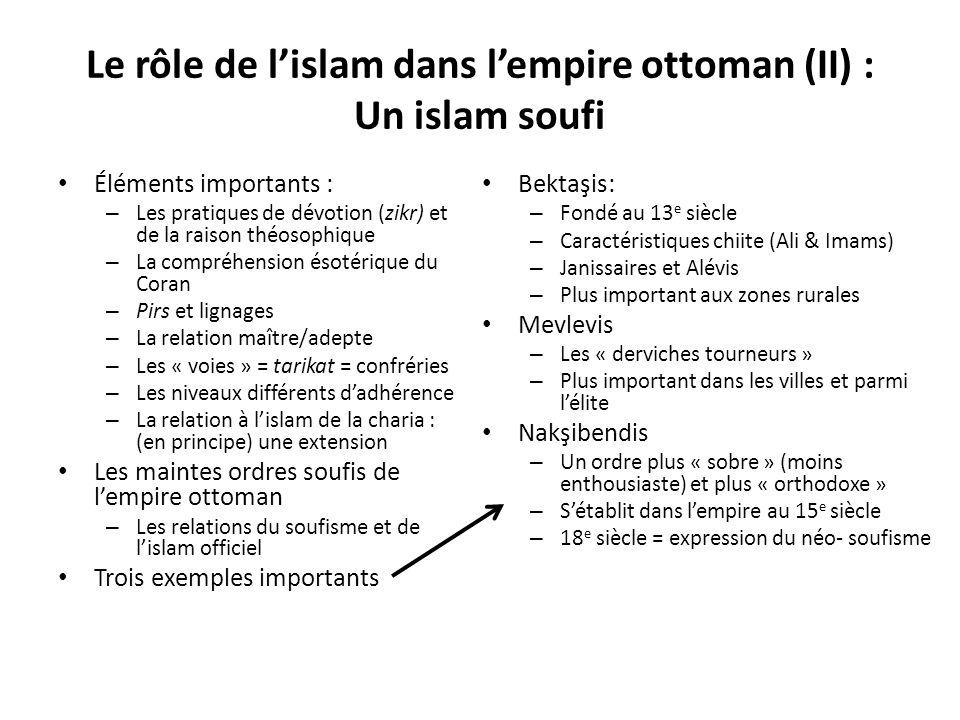 Le rôle de lislam dans lempire ottoman (II) : Un islam soufi Éléments importants : – Les pratiques de dévotion (zikr) et de la raison théosophique – L