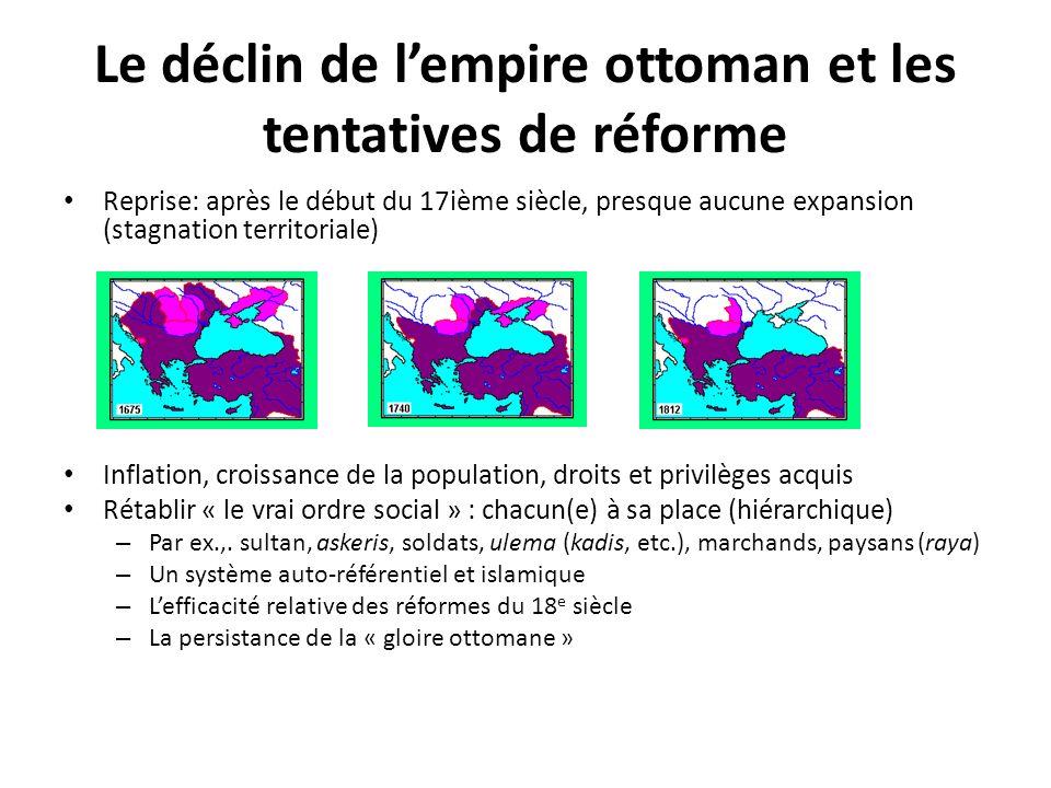 Le déclin de lempire ottoman et les tentatives de réforme Reprise: après le début du 17ième siècle, presque aucune expansion (stagnation territoriale)