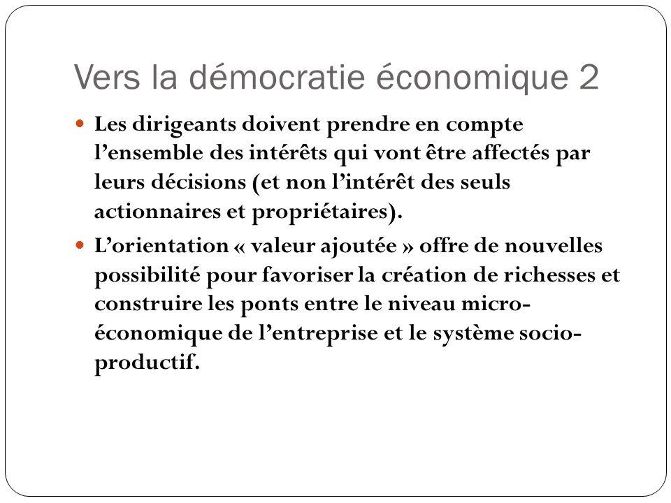 Vers la démocratie économique 2 Les dirigeants doivent prendre en compte lensemble des intérêts qui vont être affectés par leurs décisions (et non lintérêt des seuls actionnaires et propriétaires).